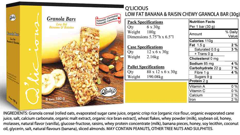 Low Fat Banana & Raisin Granola Bar Specification