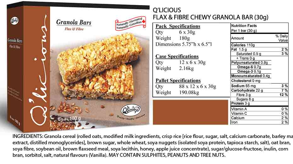 Flax & Fibre Granola Bar - Specifications
