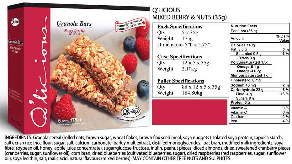 Mixed Berry & Nuts Specifications