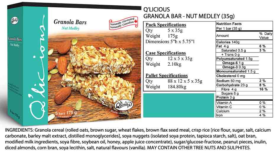 Nut Medley Granola Bar Specification